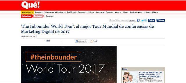 Wave On Media_Aparición en Medios_QUE.ES THE INBOUNDER WORLD TOUR