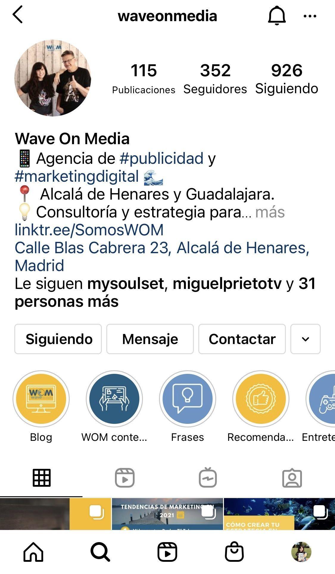 Perfil-de-empresa-en-Instagram-Ejemplo-Wave-On-Media